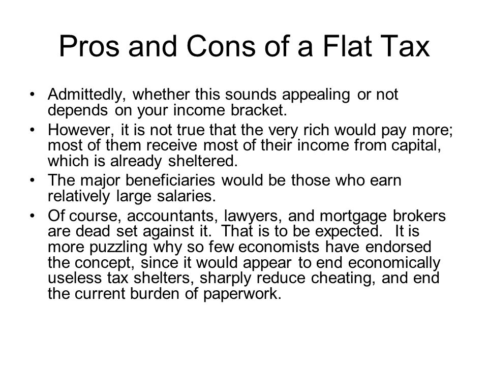 Pros and Cons of a Flat Tax