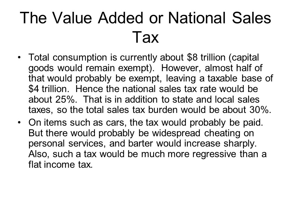The Value Added or National Sales Tax