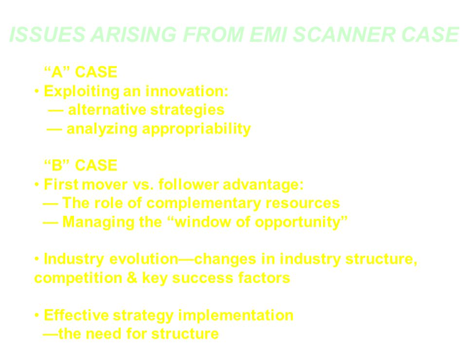 ISSUES ARISING FROM EMI SCANNER CASE