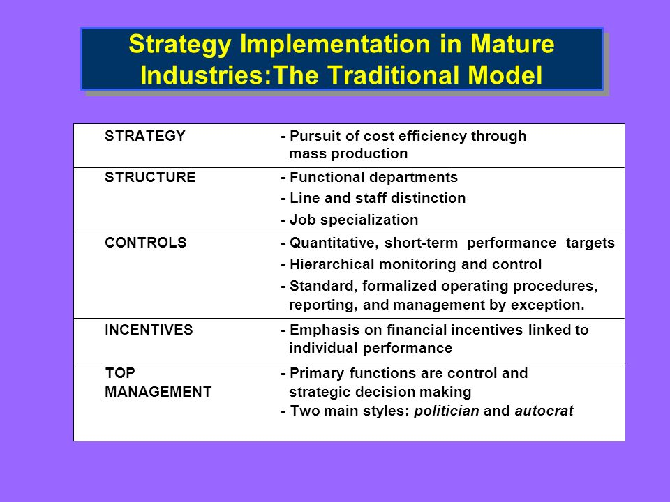 Strategy Implementation in Mature Industries:The Traditional Model