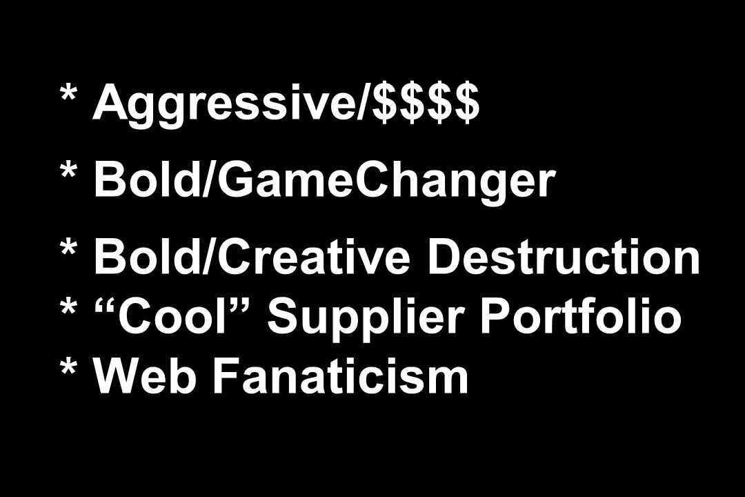 Aggressive/$$$$. Bold/GameChanger. Bold/Creative Destruction