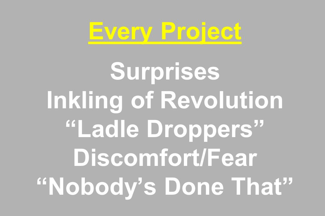 Every Project Surprises Inkling of Revolution Ladle Droppers Discomfort/Fear Nobody's Done That