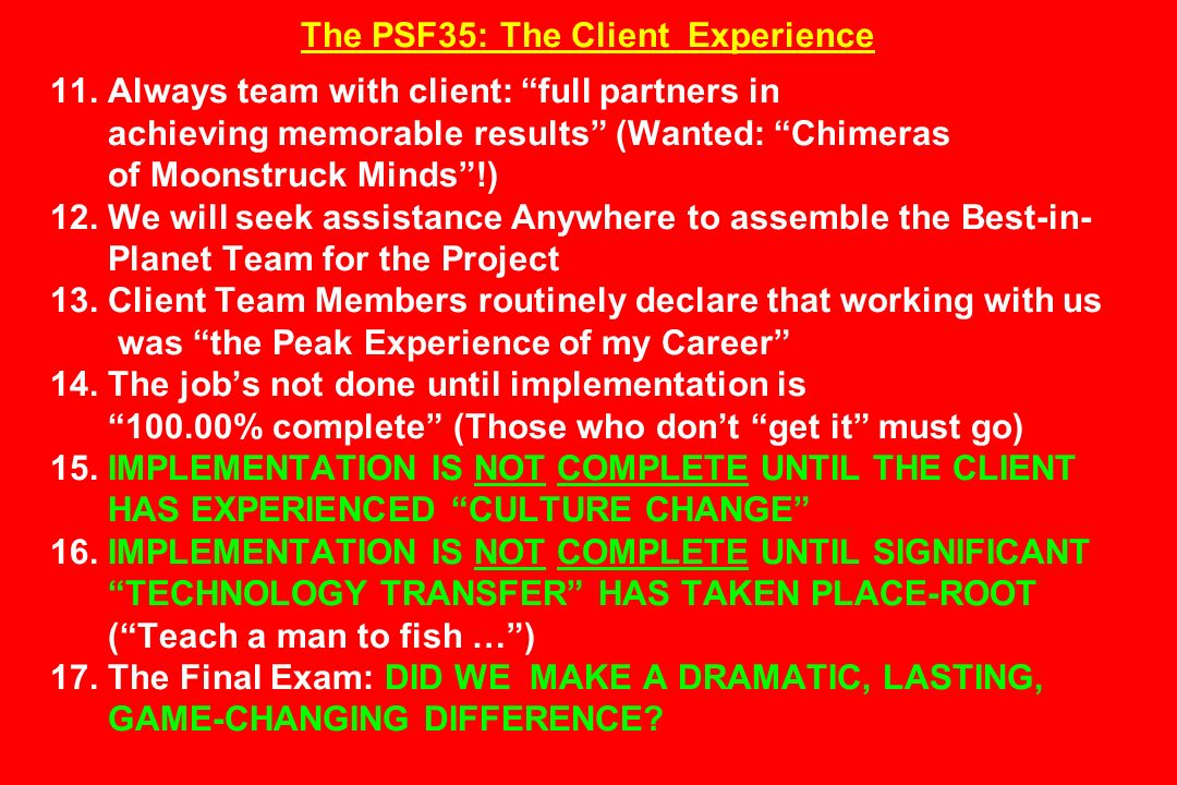 The PSF35: The Client Experience 11