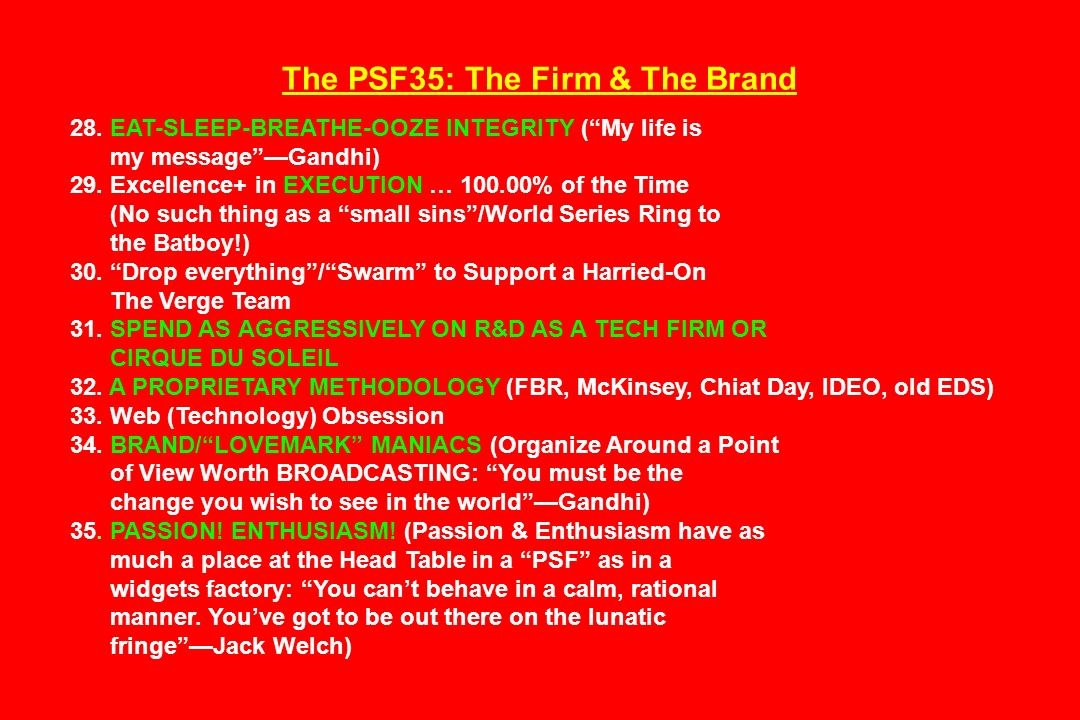 The PSF35: The Firm & The Brand 28