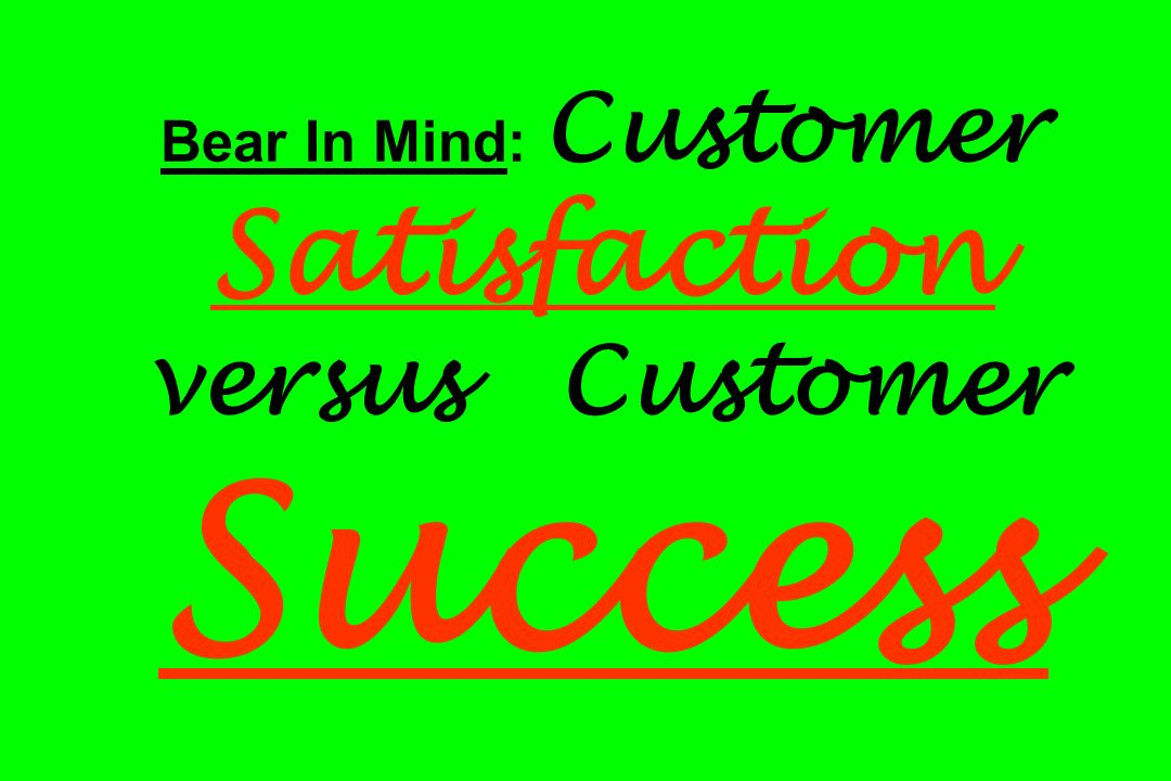 Bear In Mind: Customer Satisfaction versus Customer Success