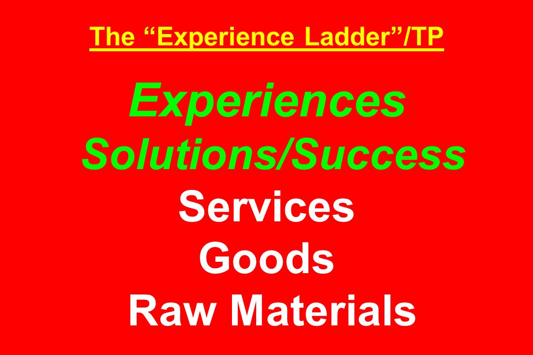 The Experience Ladder /TP Experiences Solutions/Success Services Goods Raw Materials