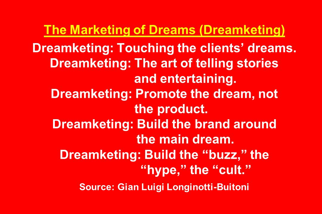 The Marketing of Dreams (Dreamketing) Dreamketing: Touching the clients' dreams.