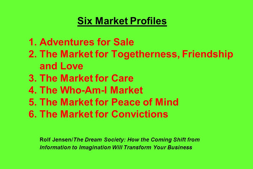 Six Market Profiles 1. Adventures for Sale 2