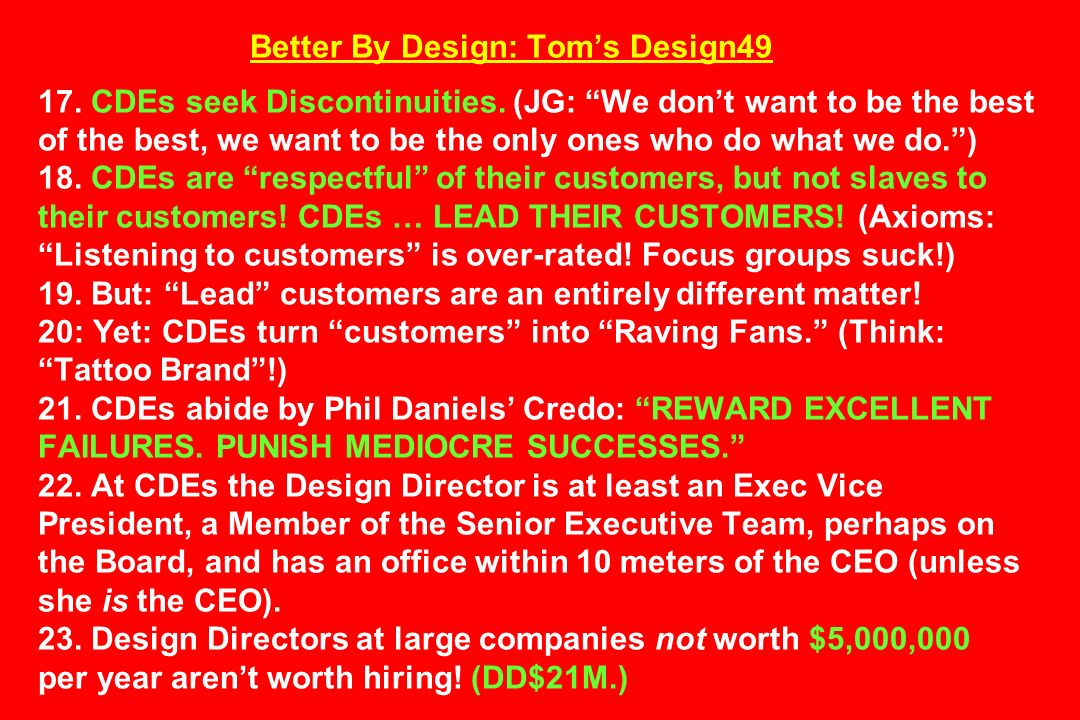 Better By Design: Tom's Design CDEs seek Discontinuities