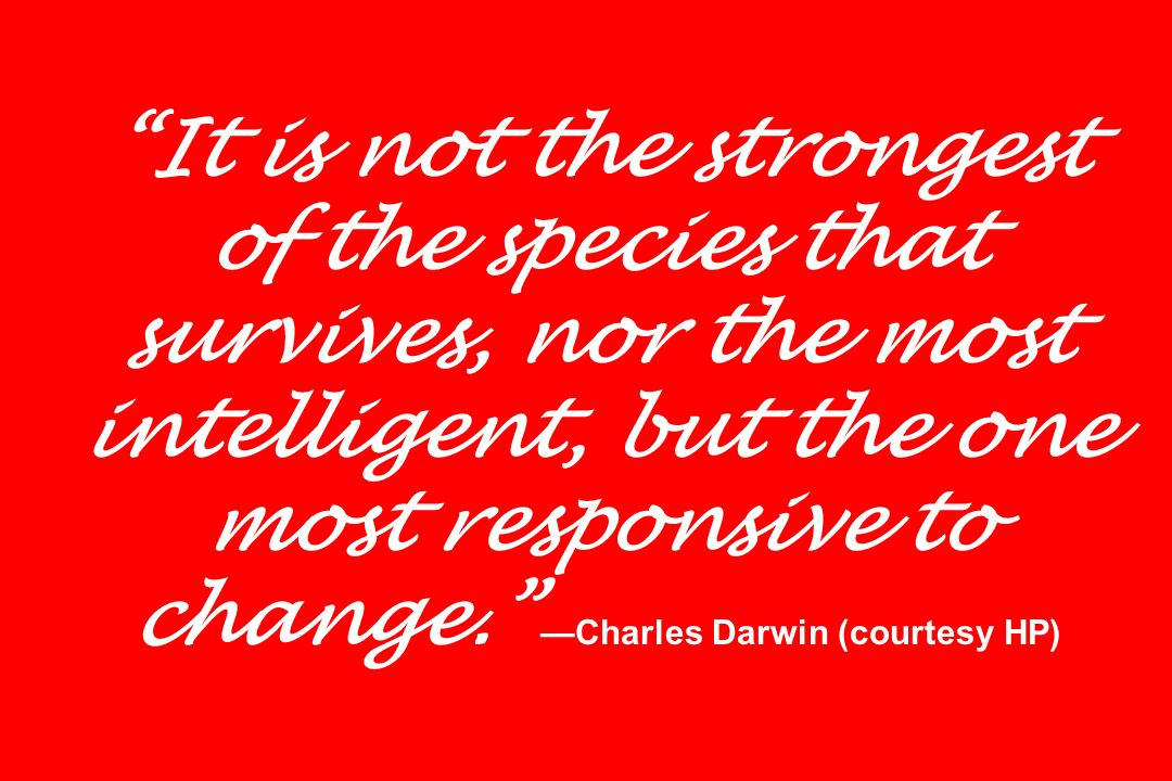 It is not the strongest of the species that survives, nor the most intelligent, but the one most responsive to change. —Charles Darwin (courtesy HP)