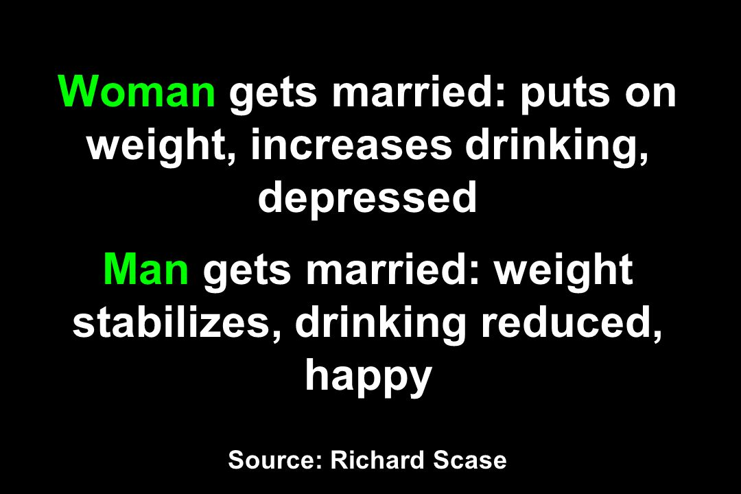 Woman gets married: puts on weight, increases drinking, depressed Man gets married: weight stabilizes, drinking reduced, happy Source: Richard Scase