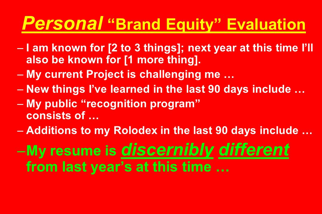 Personal Brand Equity Evaluation