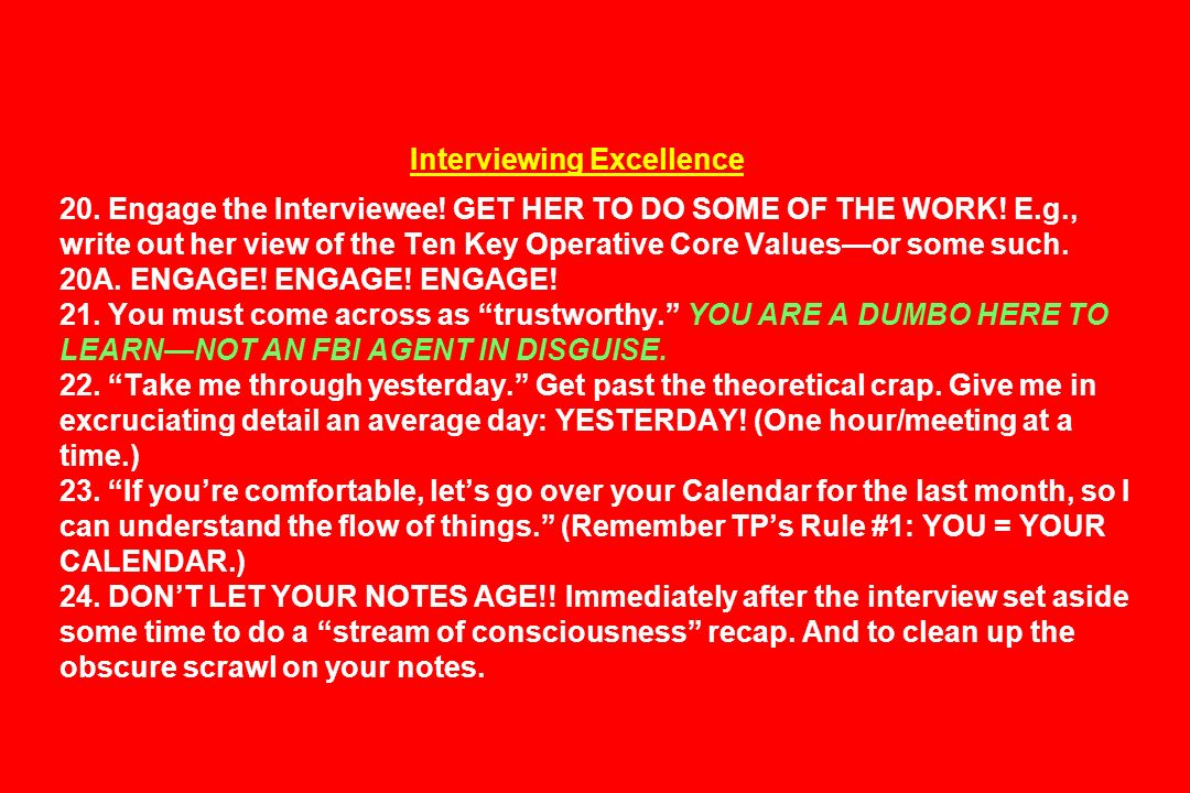 Interviewing Excellence 20. Engage the Interviewee