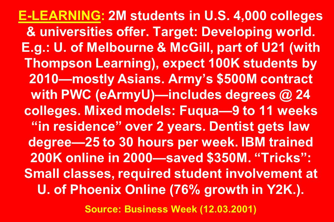 E-LEARNING: 2M students in U. S. 4,000 colleges & universities offer