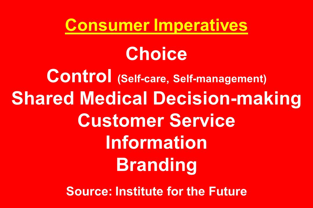 Consumer Imperatives Choice Control (Self-care, Self-management) Shared Medical Decision-making Customer Service Information Branding Source: Institute for the Future