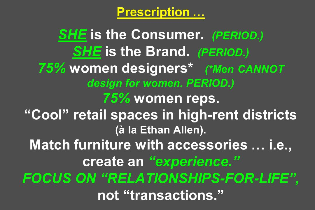 Prescription … SHE is the Consumer. (PERIOD. ) SHE is the Brand