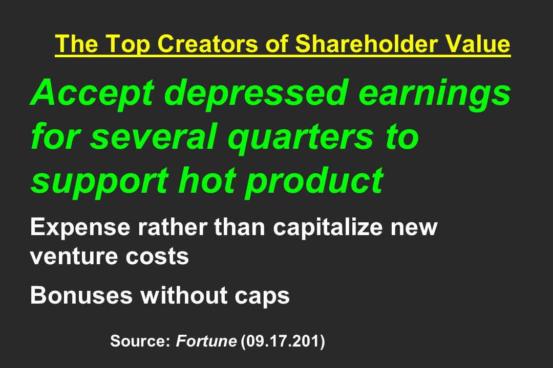 The Top Creators of Shareholder Value Accept depressed earnings for several quarters to support hot product Expense rather than capitalize new venture costs Bonuses without caps Source: Fortune ( )