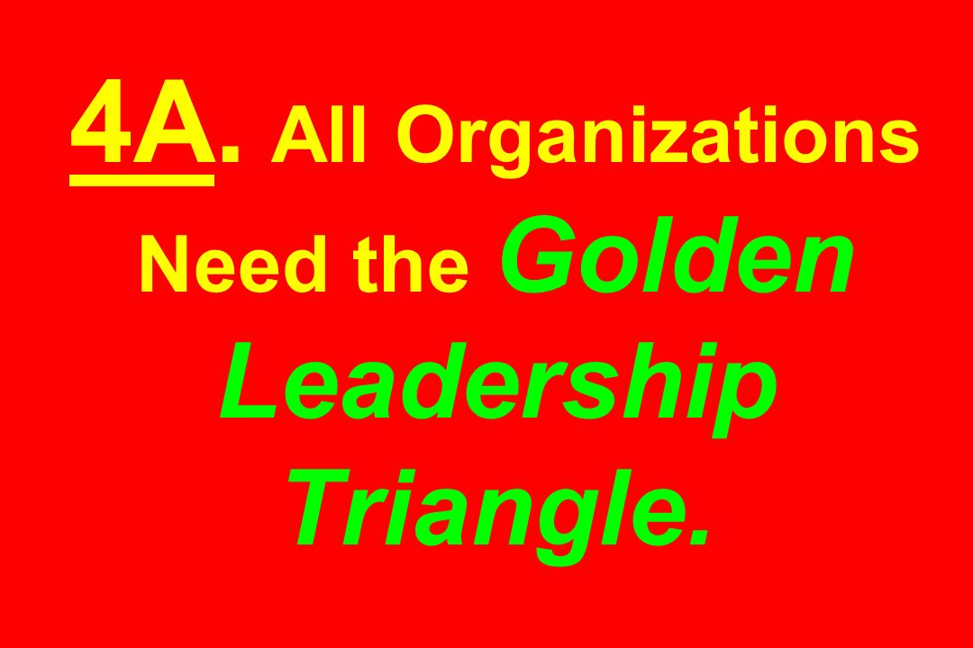 4A. All Organizations Need the Golden Leadership Triangle.