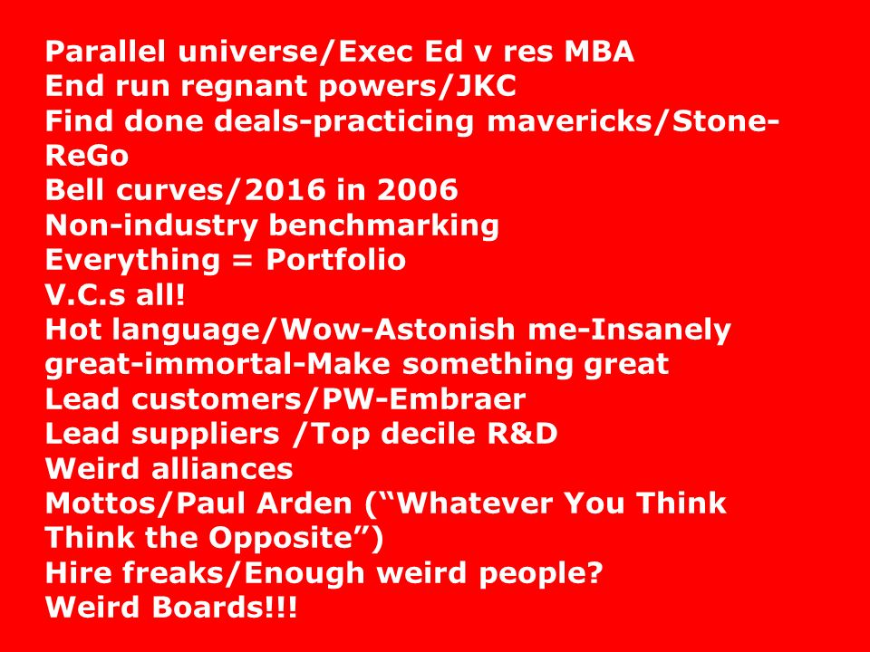 Parallel universe/Exec Ed v res MBA