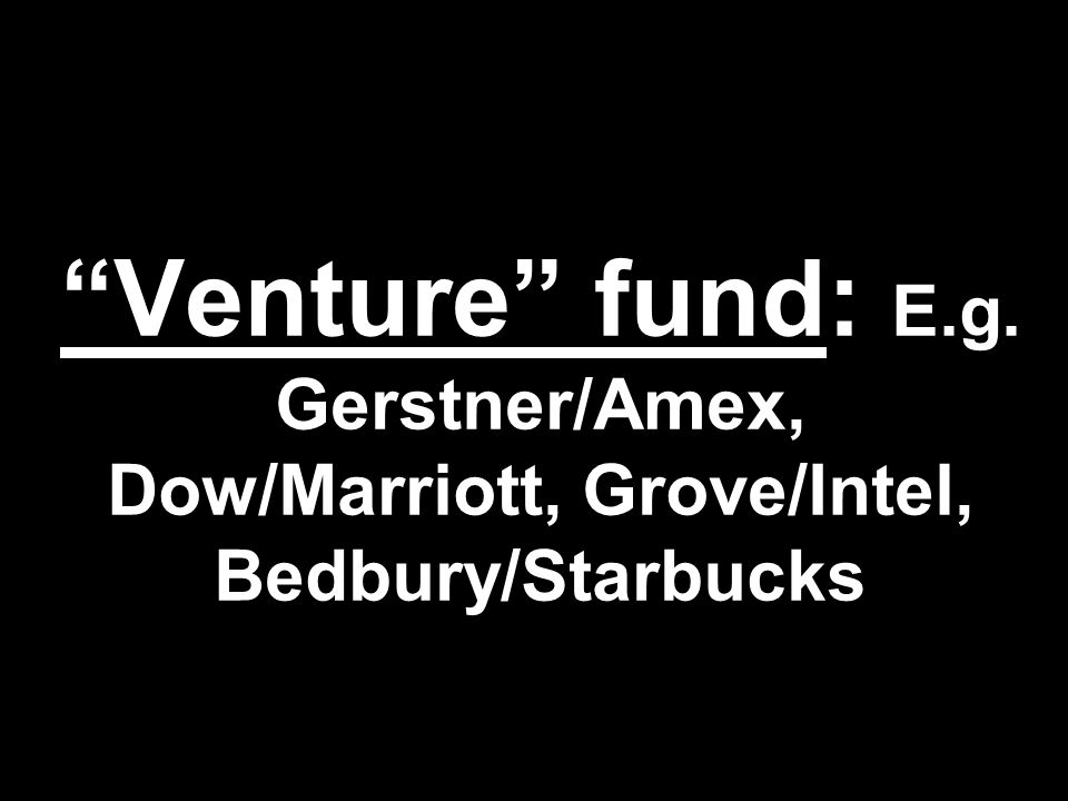 Venture fund: E.g. Gerstner/Amex, Dow/Marriott, Grove/Intel, Bedbury/Starbucks