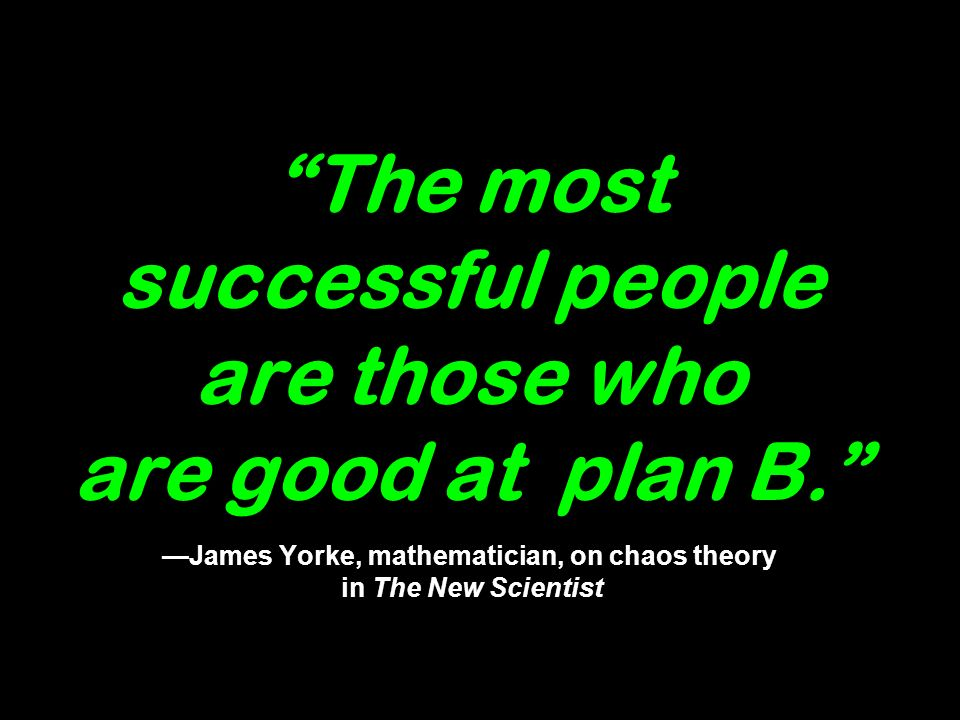 The most successful people are those who are good at plan B