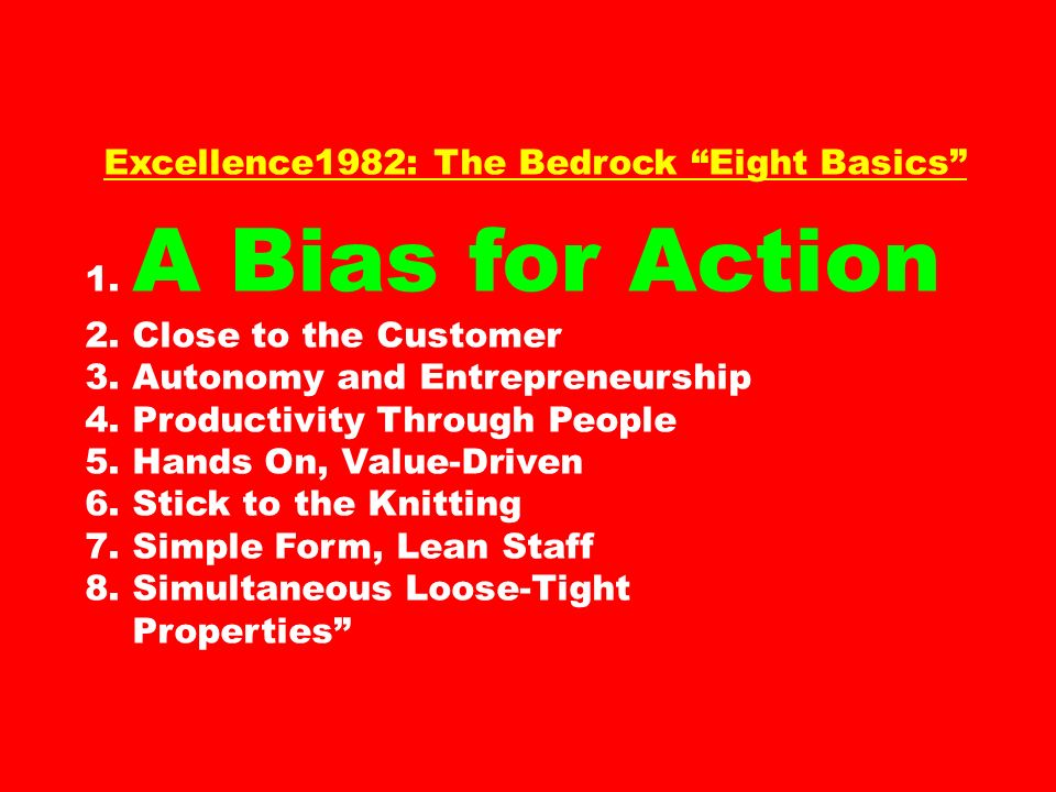 Excellence1982: The Bedrock Eight Basics