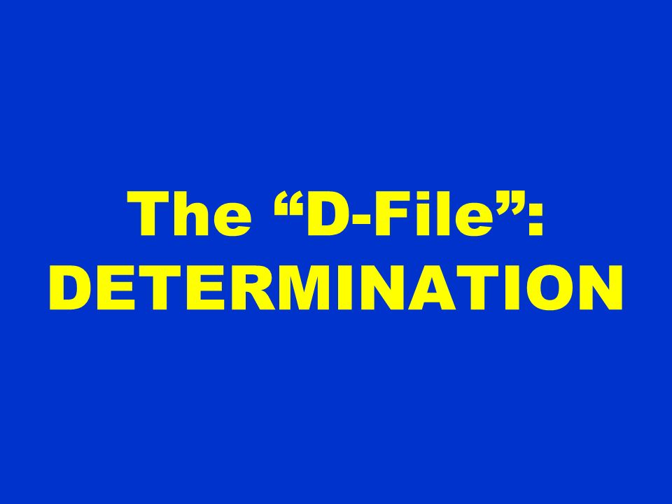 The D-File : DETERMINATION