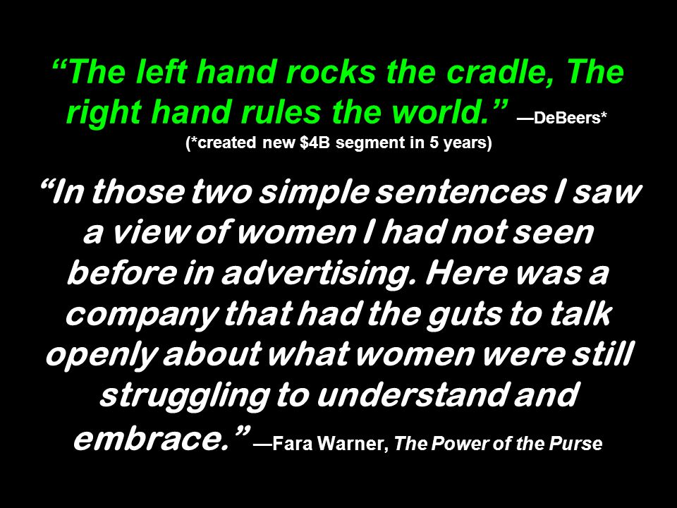 The left hand rocks the cradle, The right hand rules the world