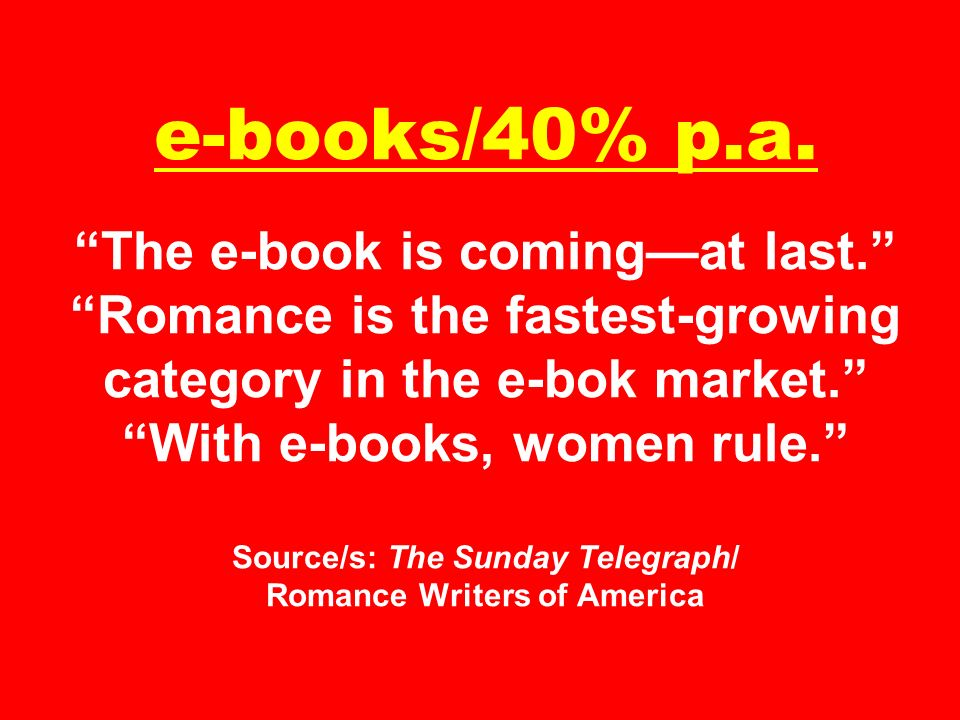 e-books/40% p. a. The e-book is coming—at last