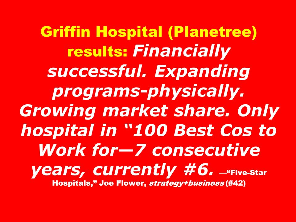 Griffin Hospital (Planetree) results: Financially successful