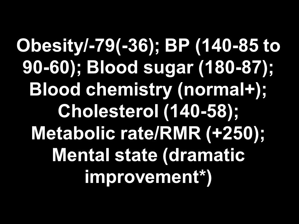 Obesity/-79(-36); BP ( to 90-60); Blood sugar (180-87); Blood chemistry (normal+); Cholesterol (140-58); Metabolic rate/RMR (+250); Mental state (dramatic improvement*)