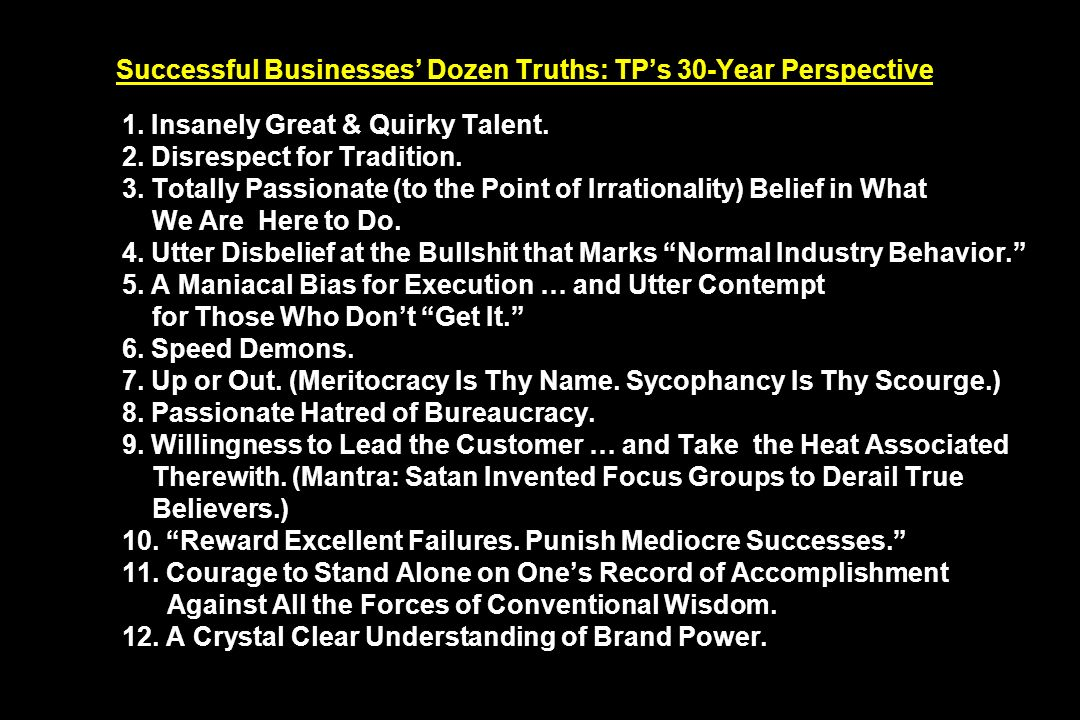 Successful Businesses' Dozen Truths: TP's 30-Year Perspective 1