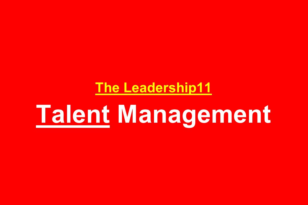 The Leadership11 Talent Management