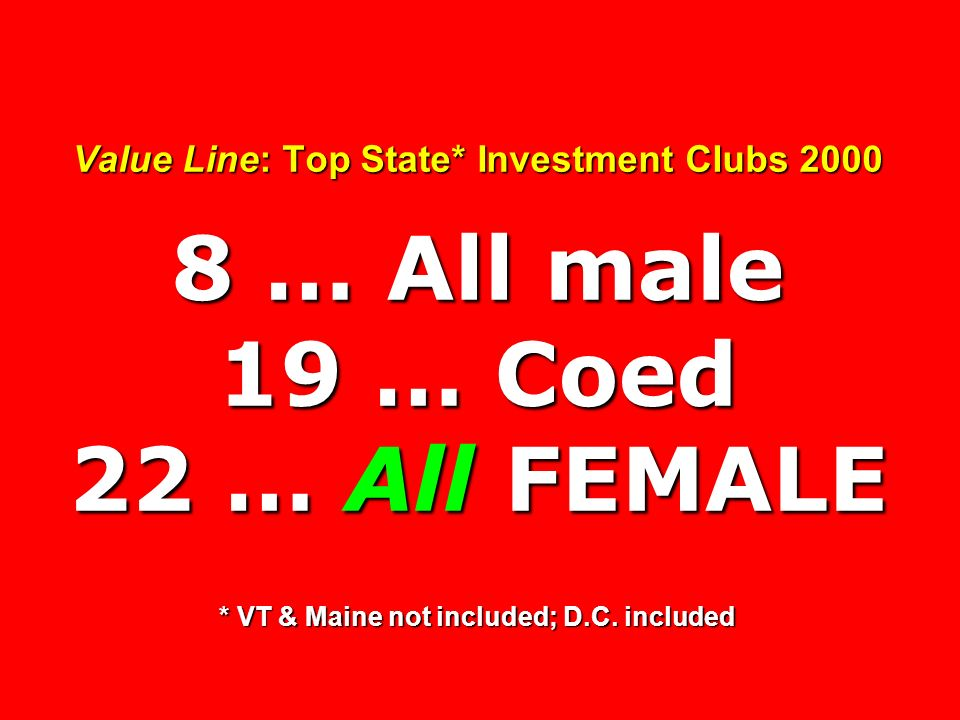 Value Line: Top State* Investment Clubs … All male 19 … Coed 22 … All FEMALE * VT & Maine not included; D.C.