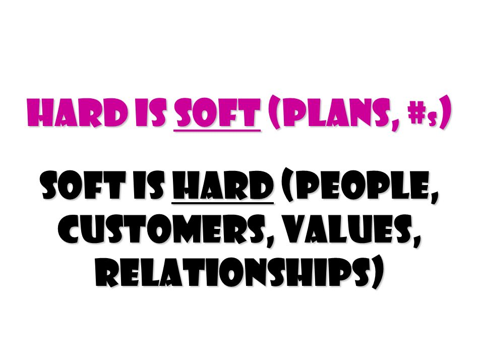 Hard Is Soft (Plans, #s) Soft Is Hard (people, customers, values, relationships)
