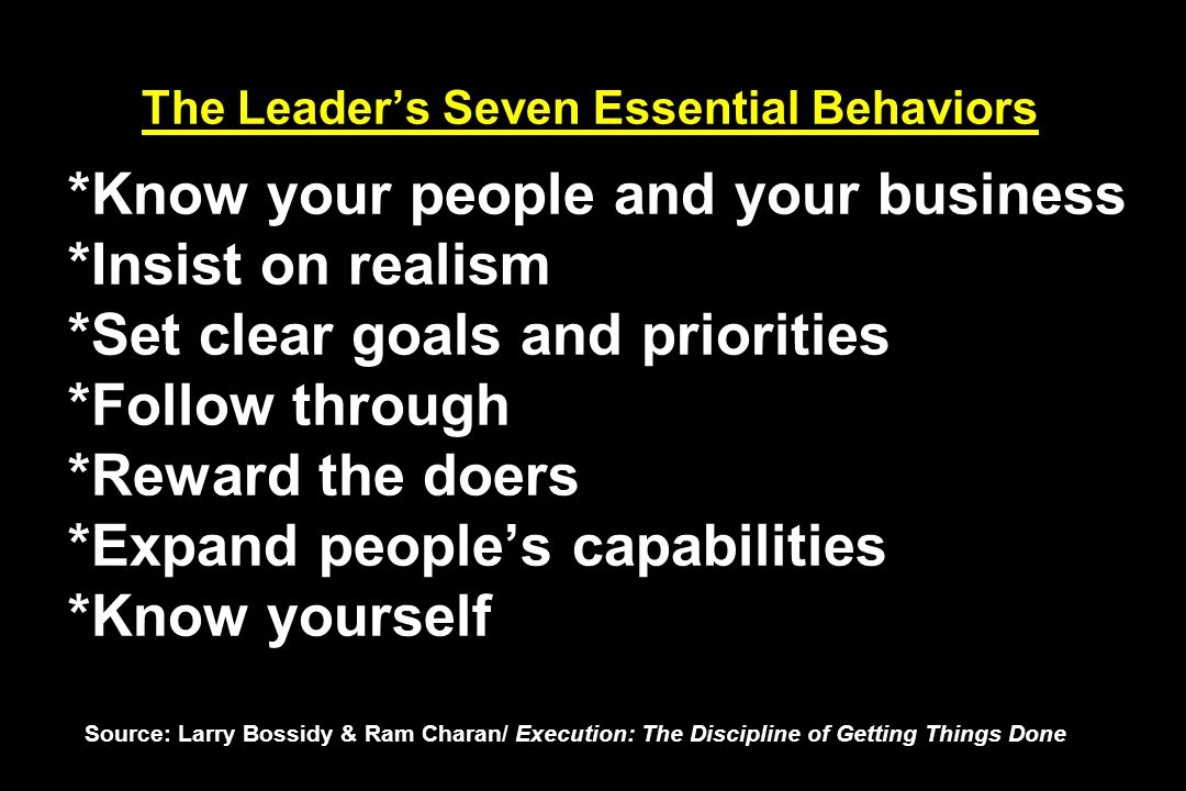 The Leader's Seven Essential Behaviors