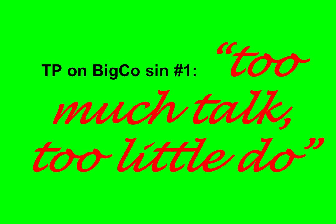 TP on BigCo sin #1: too much talk, too little do