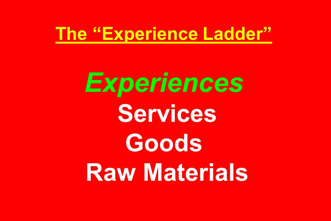 The Experience Ladder Experiences Services Goods Raw Materials