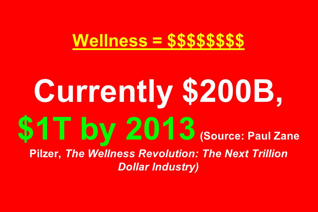 Wellness = $$$$$$$$ Currently $200B, $1T by 2013 (Source: Paul Zane Pilzer, The Wellness Revolution: The Next Trillion Dollar Industry)