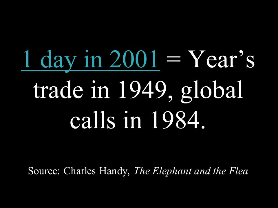 1 day in 2001 = Year's trade in 1949, global calls in 1984