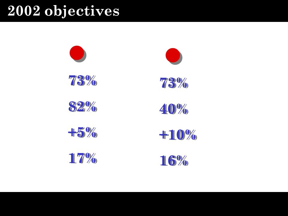 2002 objectives 73% 73% 82% 40% +5% +10% 17% 16%