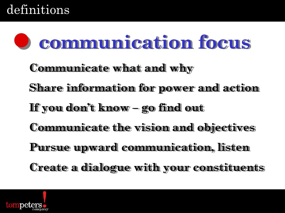 communication focus definitions Communicate what and why