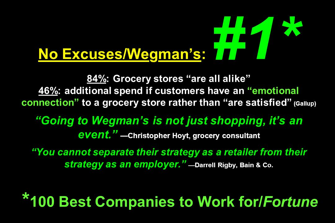 No Excuses/Wegman's: #1