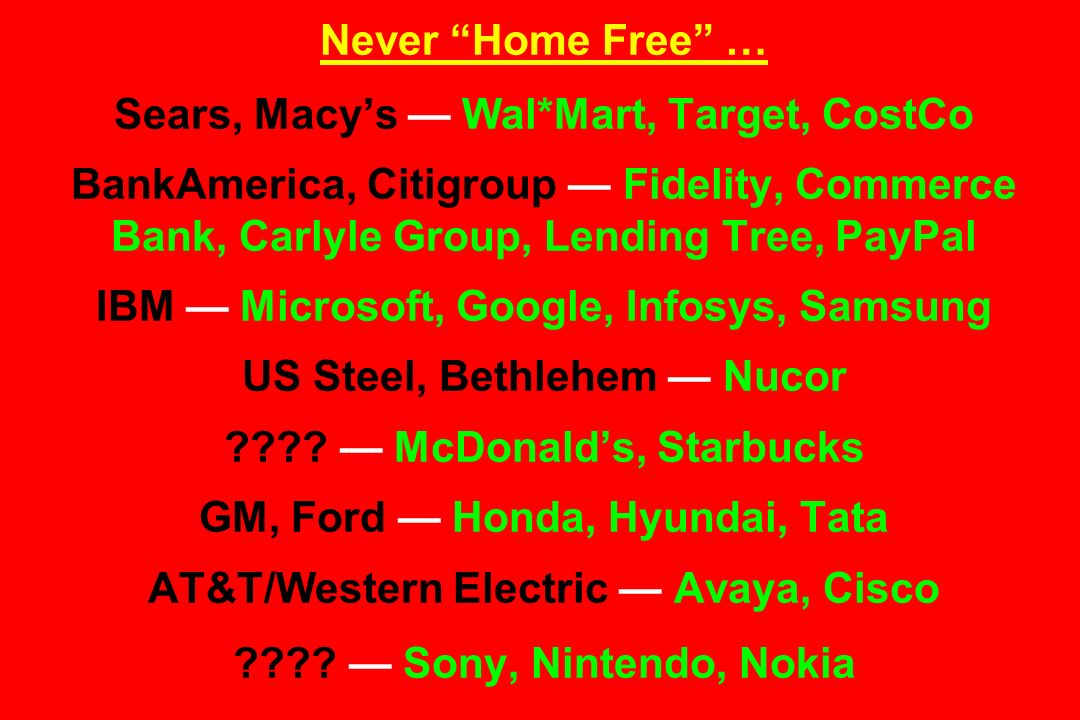 Never Home Free … Sears, Macy's — Wal