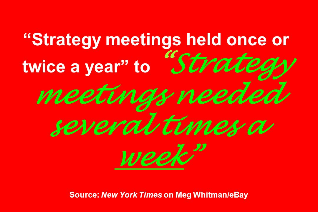Strategy meetings held once or twice a year to Strategy meetings needed several times a week Source: New York Times on Meg Whitman/eBay
