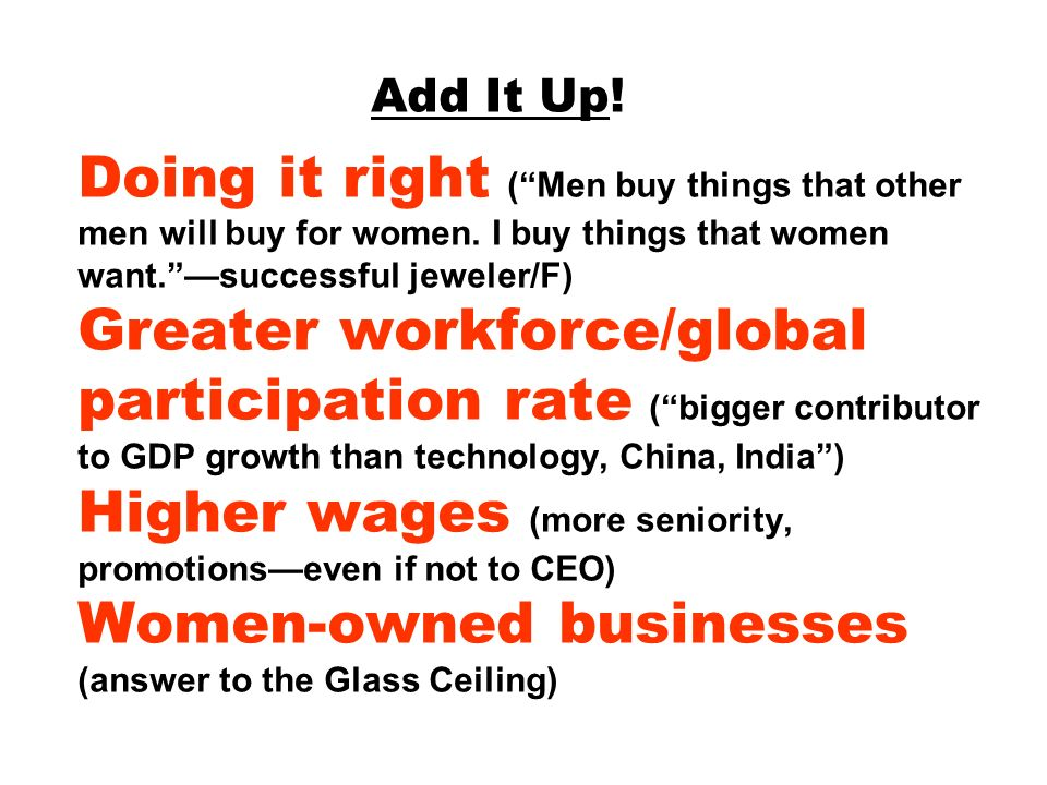 Add It Up. Doing it right ( Men buy things that other men will buy for women.