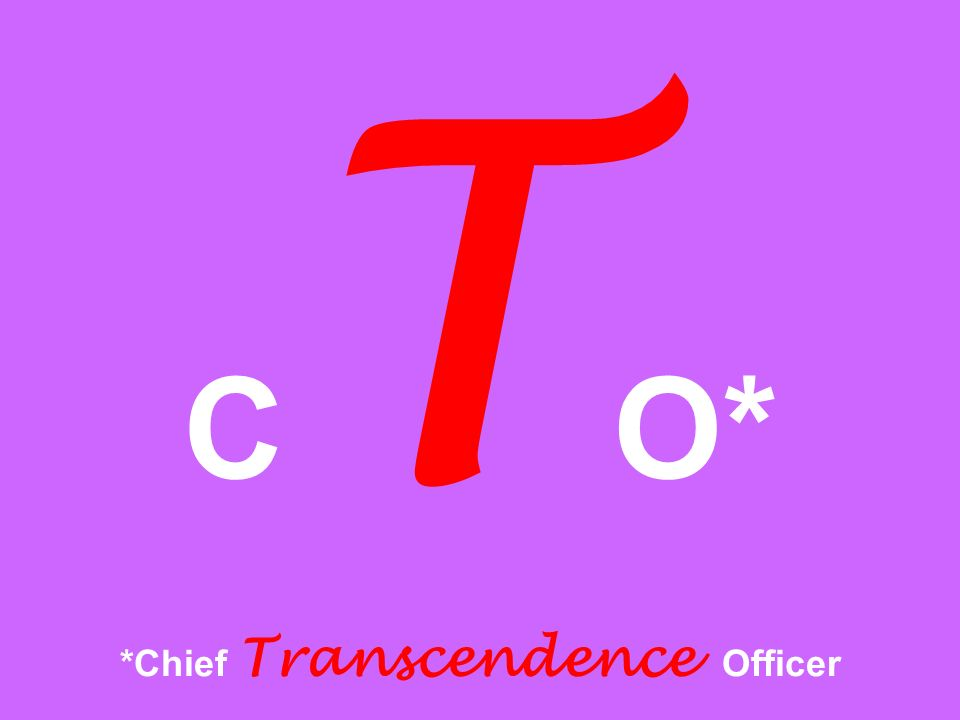 CTO* *Chief Transcendence Officer