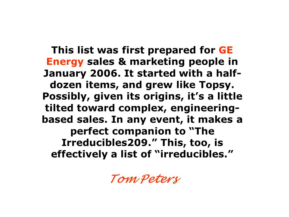 This list was first prepared for GE Energy sales & marketing people in January 2006.