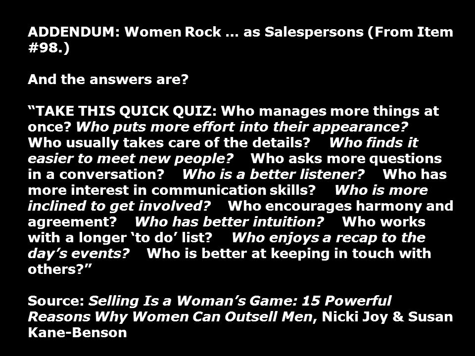 ADDENDUM: Women Rock … as Salespersons (From Item #98.)