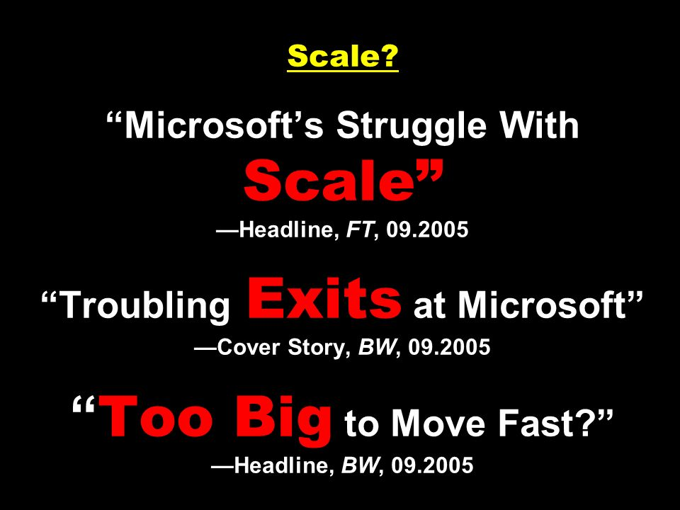Scale. Microsoft's Struggle With Scale —Headline, FT, 09